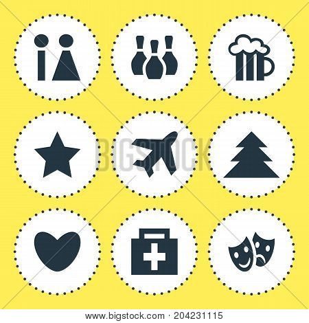 Editable Pack Of Aircraft, Toilet, Masks And Other Elements.  Vector Illustration Of 9 Check-In Icons.