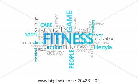 Fitness, Animated Typography, Word Cloud Concept Illustration