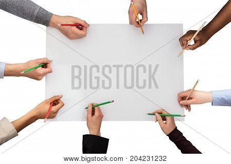 Elevated Of Hands With Pencil On White Paper Against White Background