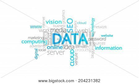 Data, Typography Animation, Word Cloud Concept Illustration