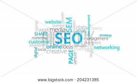 Seo, Search Engine Optimization, Word Cloud Concept Illustration