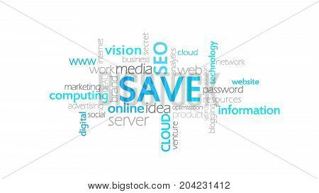 Save, Typography Animation, Word Cloud Concept Illustration