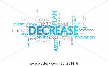 Decrease, Animated Typography, Word Cloud Concept Illustration