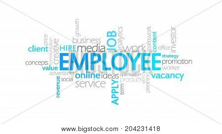Employee, Animated Typography, Word Cloud Concept Illustration
