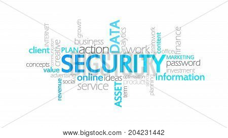 Security, Animated Typography, Word Cloud Concept Illustration