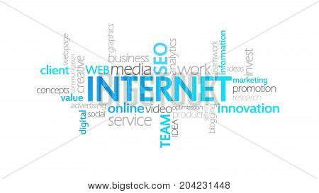 Internet, Animated Typography, Word Cloud Concept Illustration