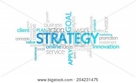 Strategy, Animated Typography, Word Cloud Concept Illustration