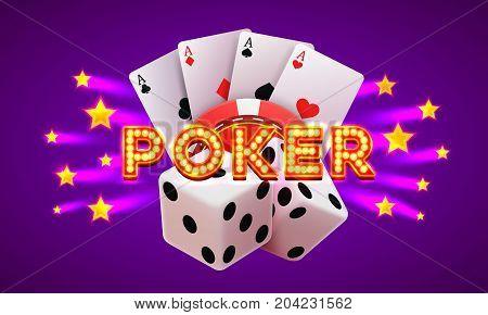 Poker label, casino banner signboard on the purple background. Vector illustration