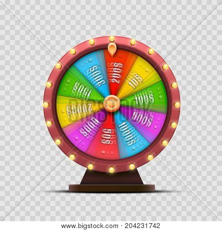 Colorful fortune wheel. isolated  on a transparent background . Vector illustration
