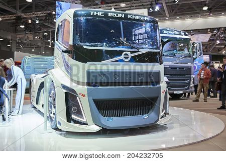MOSCOW, SEP, 5, 2017: View on white Volvo drag race high speed truck exhibit on Commercial Transport Exhibition ComTrans-2017. Automobile industry last achievements. Trucks buses cars custom vehicles