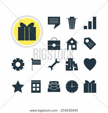 Editable Pack Of Messages, Gear, Coupon And Other Elements.  Vector Illustration Of 16 Internet Icons.