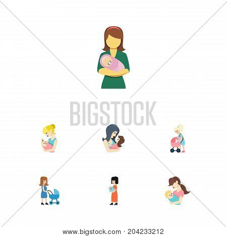 Flat Icon Mam Set Of Perambulator, Newborn Baby, Baby And Other Vector Objects