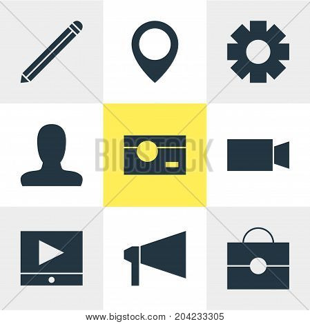 Editable Pack Of Play Button, Map Pointer, Portfolio And Other Elements.  Vector Illustration Of 9 Internet Icons.