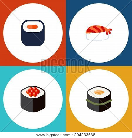 Flat Icon Sashimi Set Of Gourmet, Maki, Japanese Food And Other Vector Objects