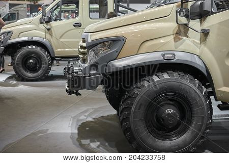MOSCOW, SEP, 5, 2017: View on russian off road car GAZ for for hard to reach areas and hunting. Special customized tailor made off road truck. Commercial Transport Exhibition ComTrans-2017. Mud trucks