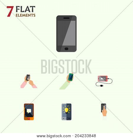 Flat Icon Touchscreen Set Of Chatting, Accumulator, Screen And Other Vector Objects