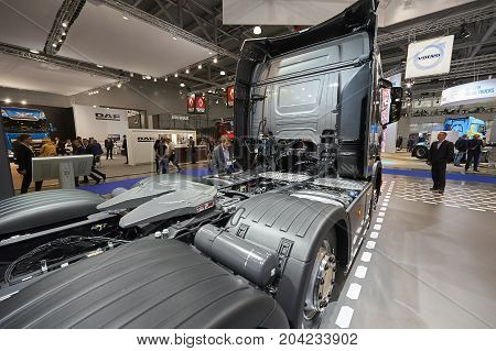 MOSCOW, SEP, 5, 2017: View on Scania truck back chassis with equipment. Scania trucks on Commercial Transport Exhibition ComTrans-2017. Truck back equipment devices chassis frame. Commercial trucks