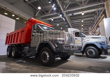 MOSCOW, SEP, 5, 2017: View on serial off-road URAL mud truck for hard to reach areas. Off road cargo trucks for civil military transportation. Commercial Transport Exhibition ComTrans-2017