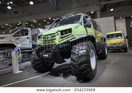 MOSCOW, SEP, 5, 2017: View on off-road GAZ special passenger car for hard to reach swamp Siberia Russia areas. Truck for workers, vehicle GAZ chassis. Commercial Transport Exhibition ComTrans-2017