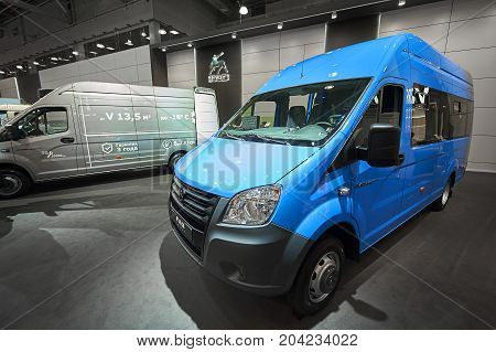 MOSCOW, SEP, 5, 2017: View on mini bus minivan GAZ for people and cargo transportation. Famous Russian automobile manufacturer exhibition stand booth. Commercial Transport Exhibition ComTrans-2017