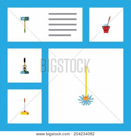 Flat Icon Mop Set Of Besom, Broom, Broomstick And Other Vector Objects