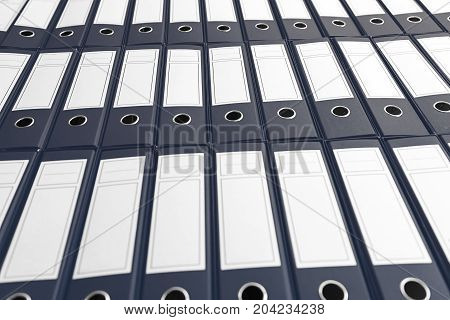 Archive with many binders on shelf Business administration