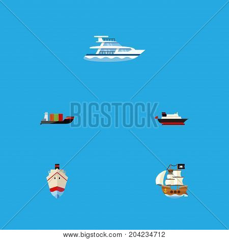 Flat Icon Vessel Set Of Vessel, Tanker, Cargo And Other Vector Objects