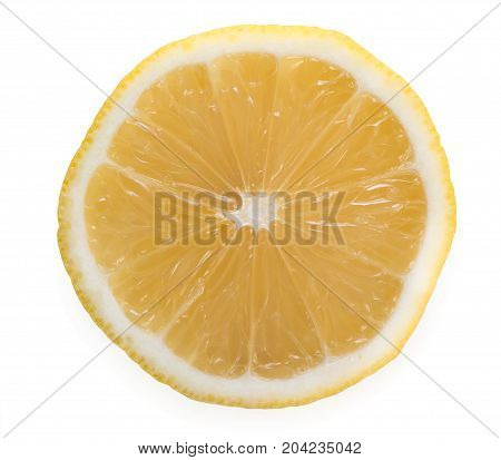 Slice Of Fresh, Juicy Lemon, Isolated On A White Background, Top View, Close Up.
