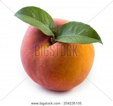 Fresh, Juicy Peach With Slices Isolated On A White Background, Close Up.