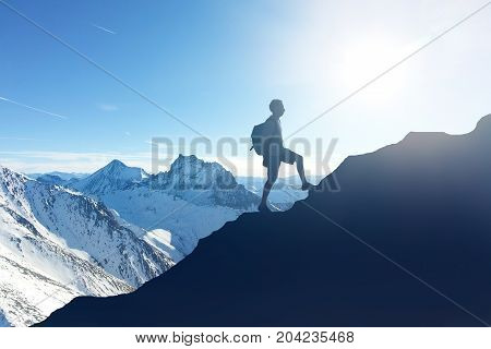 Hiker Hiking On Mountain During Winter At Soelden
