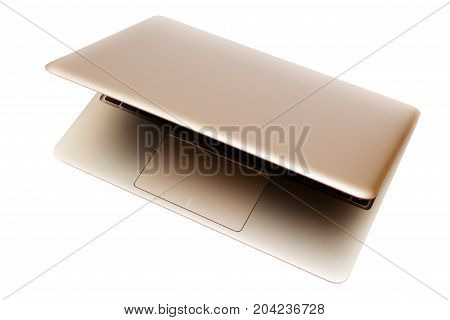 Computer laptop minimalistic style of portable notebook on white background