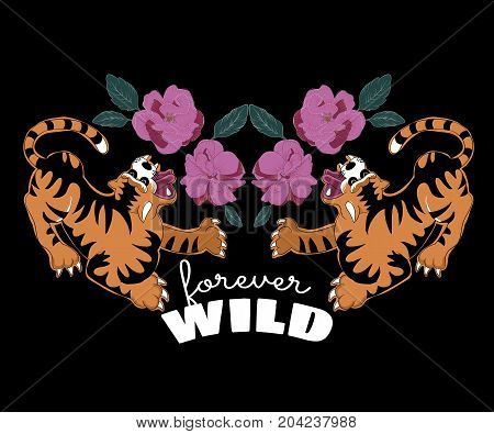 Japanese tigers with flowers for t shirt apparels printing. Vector sticker, patch in oriental style.