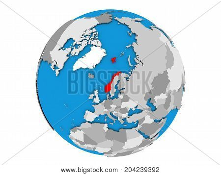 Norway On Globe Isolated