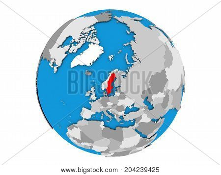 Sweden On Globe Isolated