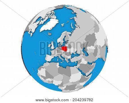 Poland On Globe Isolated