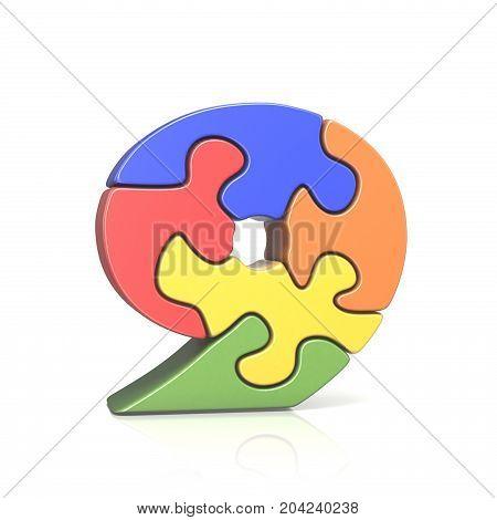 Puzzle Jigsaw Number Nine 9 3D