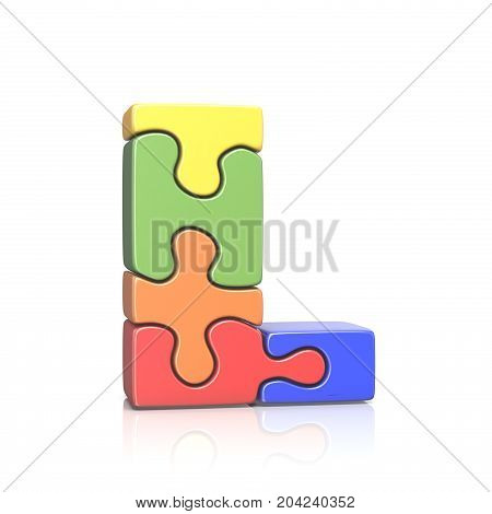 Puzzle Jigsaw Letter L 3D