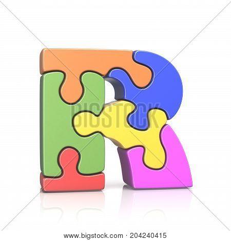 Puzzle Jigsaw Letter R 3D