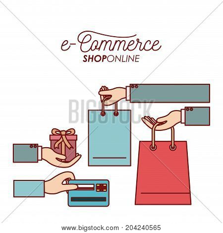 elements process payment and receiving gift and bag shopping e-commerce shop online on white background vector illustration