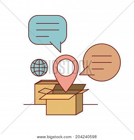 set cardboard with callout and symbol global and location e-commerce shop online on white background vector illustration