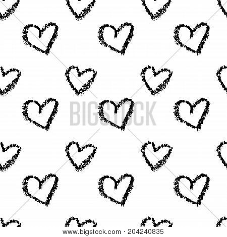 Pattern of hearts hand drawn vector sketch. Seamless heart art background hand drawn by by wax crayon drawing. Romantic symbols for love greeting valentines elements.