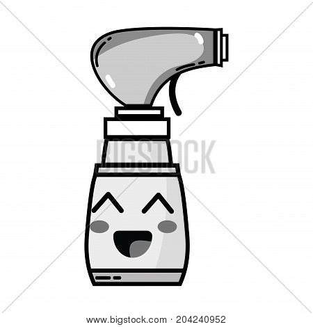 grayscale kawaii cute happy spray bottle vector illustration