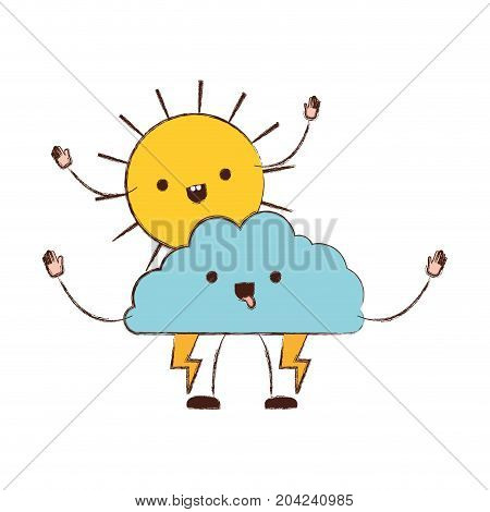 cloud with lightnings and sun kawaii caricature in blurred color silhouette vector illustration