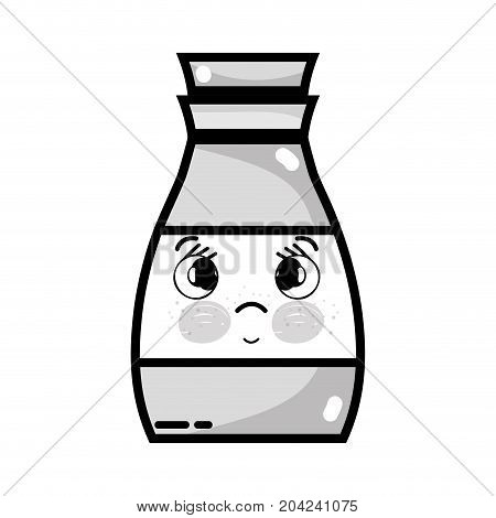 grayscale kawaii cute sad beverage bottle vector illustration
