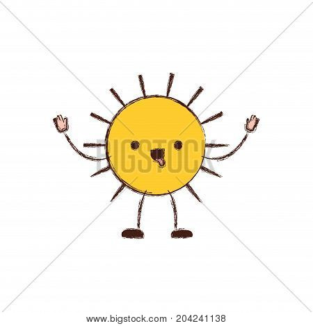 sun kawaii caricature in blurred color silhouette vector illustration