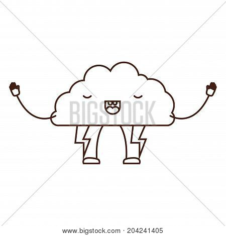 cloud with lightnings kawaii caricature in brown color contour vector illustration