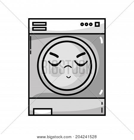 grayscale kawaii cute angry washing machine vector illustration