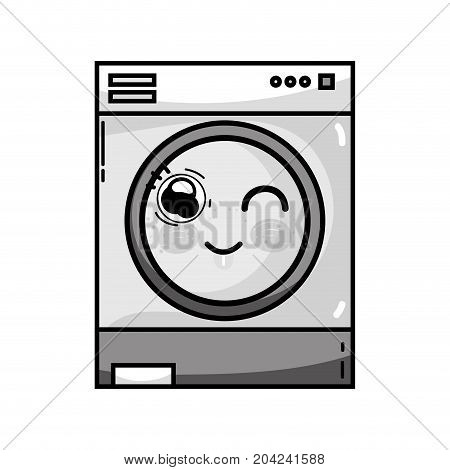 grayscale kawaii cute funny washing machine vector illustration