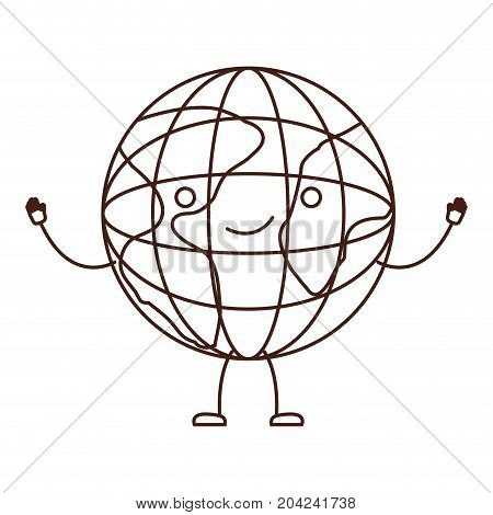 globe world icon kawaii caricature in brown color contour vector illustration