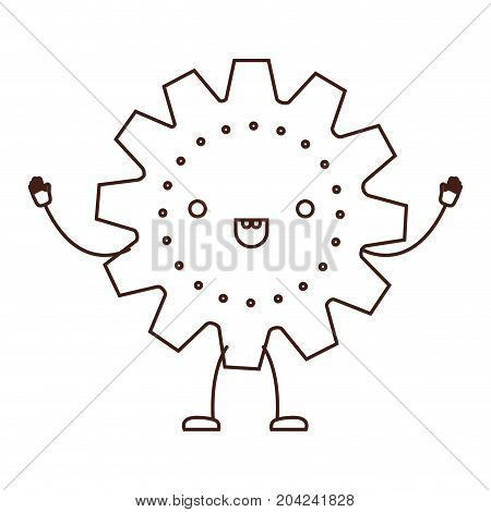 gear icon kawaii caricature in brown color contour vector illustration